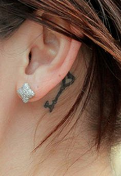 Key Tattoo Behind The Ear | Fairyland Tattoos