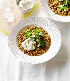 Coconut lentil dhal with cucumber yoghurt :: Gourmet Traveller