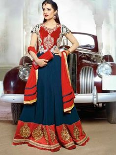 Navy Blue Georgette Anarkali Suit With Embroidery Work www.saree.com
