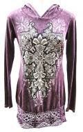 100% cotton, distressed purple color with lace trim and crystal accents