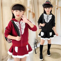 $23.00 (Buy here: https://alitems.com/g/1e8d114494ebda23ff8b16525dc3e8/?i=5&ulp=https%3A%2F%2Fwww.aliexpress.com%2Fitem%2F2015-New-Autumn-Winter-Girls-Clothes-Coat-Dress-Lace-Skirts-2Pcs-Sport-Children-Clothing-Set-Sweater%2F32450152195.html ) 2016 Autumn Girls Clothing Sets Coat Dress Lace Skirts 2 Pcs Sport Children Clothing Set 3-13 Years Girls Kids Tracksuit Clothes for just $23.00