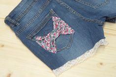 Customiser un short en jean ... Avec de la dentelle et du liberty