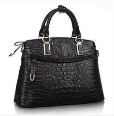 0505c256f848 Женская деловая сумка из натуральной кожи с тиснением под крокодила Черный:  купить в Харькове,