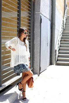 Zara White Open Weave Knit Oversize Jersey and Printed Skirt - Street Style.