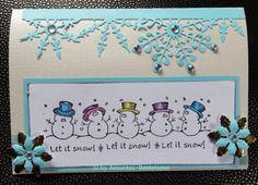 Süße Weihnachtskarte mit kleinen Schneemännern,  gestempelt Let It Snow, Frame, Handmade, Decor, Cute Christmas Cards, Snowman, Stamping, Crafting, Picture Frame