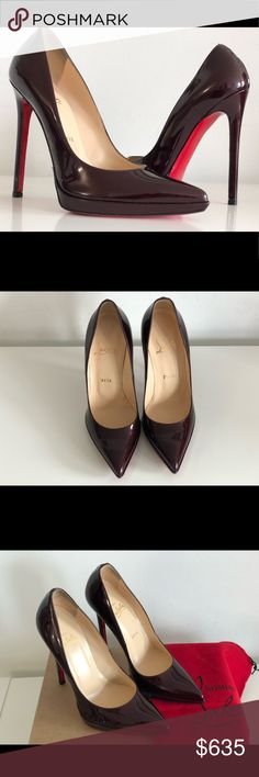 3d48a25f2f07 CHRISTIAN LOUBOUTIN PIGALLE PLATO 120 BURGUNDY CHRISTIAN LOUBOUTIN PIGALLE  PLATO 120 BURGUNDY PATENT LEATHER PUMPS SIZE