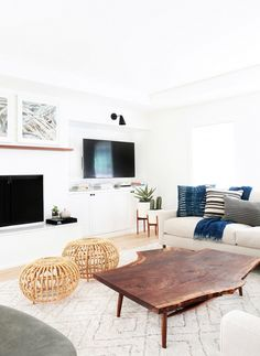Large live-edge coffee table in a family room
