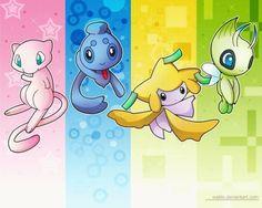 Voici quelques légendaires vous pouvez voir respectivement Mew, Phione, Jirachi et Celebi.