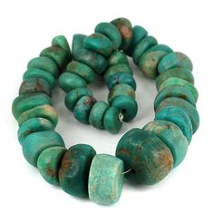 skj-jewelry - Large Old African Amazonite Gemstone Bead Strand 14 - 30mm Diameter