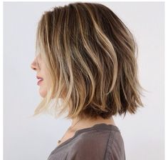 Love this! Beautiful hair color (medium with blonde highlights) at collar bone length.