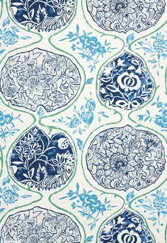 Wallcovering / Wallpaper | Katsugi in Cobalt & Turquoise | Schumacher