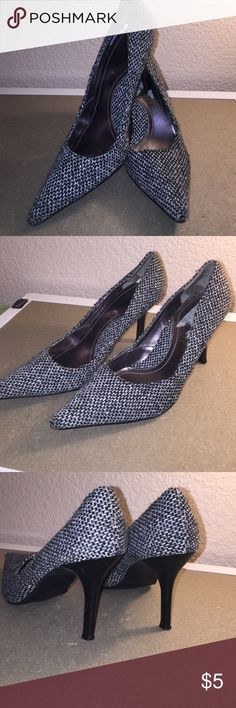 Tweed Material Low Heels Tweed Material, great for office wear, checking out new apartments or homes, shopping casual. Wear it so many ways tweed jacket skinny jeans and these, or skirts dresses. Very versatile. Rampage Shoes Heels