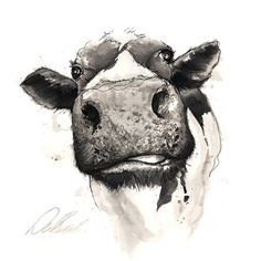 Watercolor art, watercolor animals, cow art, cow painting, painting & d Cow Painting, Painting & Drawing, Watercolor Paintings, Cow Drawing, Drawing Ideas, Watercolour, Cartoon Painting, Drawing Tips, Animal Paintings