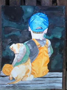 Dog & Boy on Pier watercolor painting