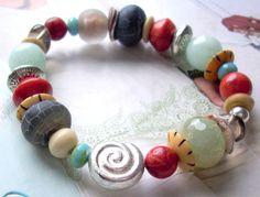 Ethnostyle Armband  *Sea Side* elastisch von PerlenKULT auf DaWanda.com