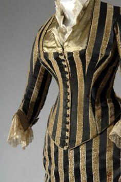 House of Worth, Silk Satin & Cut Velvet Evening Dress. Paris, c. 1884. (View 1)