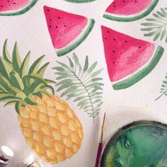 . . . #illustration #fruit #summer #printdesign #surfacepatterndesign #textiledesign #ohkiistudio #fruit #watercolor (at Greenpoint Loft)