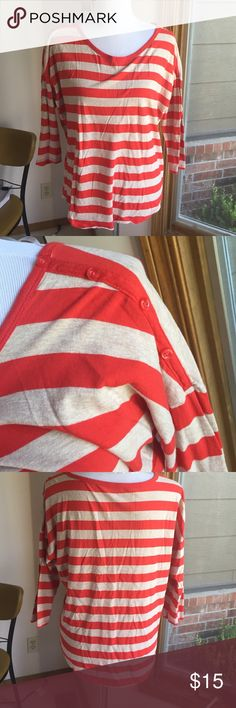 Orange and tan striped tee 100% cotton KD Gap Tops Tees - Long Sleeve
