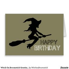 Witch On Broomstick Greeting Card