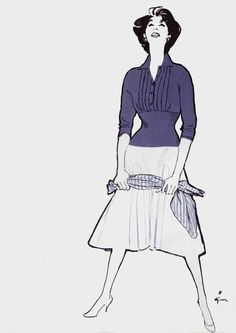 Knit sweater by Korrigan Lesur ad, illustrated by René Gruau, 1957 Lanvin, Balenciaga, Dope Fashion, Fashion Art, Vintage Fashion, Fashion Design, Jacques Fath, Christian Dior, David Downton