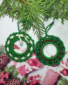 2 Green Christmas Wreaths, Crochet Hanging Ornaments