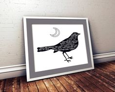 $5.00 Song Bird At Night With Poem On White Background by SomePrints