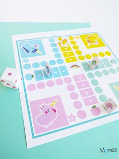 A set of small horses Version unicorns story to bring a little magic to the famous board game for children. A version in pastel colors and a shorter part to introduce the smaller company game. Games For Kids, Diy For Kids, Activities For Kids, Crafts For Kids, Unicorn Birthday Parties, Unicorn Party, Homemade Board Games, Make Your Own Game, Diy Inspiration