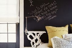 Chalkboard paint in the bedrooms. How fun!!