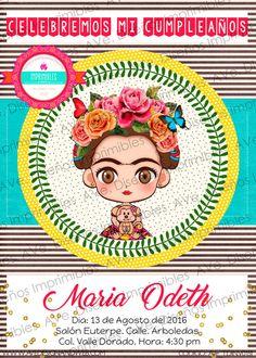 Frida Kahlo Invitaciones fondo Lineas por AVeDisenoImprimible