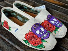 Dia De Los Muertos Sugar Skulls and Roses TOMS shoes
