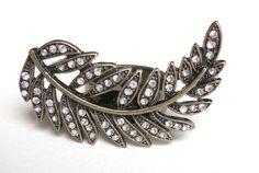 Vintage Bronze Rhinestone Leaf Ring by AccessoriesG on Etsy, $2.80