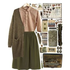 Fall autmn outfit, fall autumn ideas, fashion girl, fashionista, vintage girl, midi skirt, green outfit, autumn lookbook