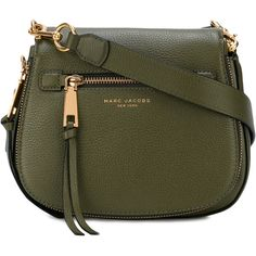 Marc Jacobs Nomad Small Leather Shoulder Bag (145 KWD) ❤ liked on Polyvore featuring bags, handbags, shoulder bags, army green, leather crossbody, cross-body handbag, leather crossbody handbags, leather cross body purse and marc jacobs shoulder bag