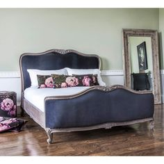 Montmartre Black Velvet Bed | French Bedroom Company. Romantic black velvet French bed.