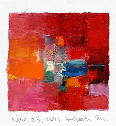 Original Abstract Oil Painting - 9 x 9 with 8 x 10 matte - by Hiroshi Matsumoto