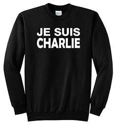 Comical Shirt Men's Je Suis Charlie I Am Charlie Shirt Crewneck Black 3XL, Size: XXXL