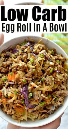 This egg roll in a bowl is a delicious alternative to the classic egg roll! It's got all the tasty flavors of an egg roll without the carbs and only takes minutes to make – you can't beat that! roll in a bowl LOW-CARB EASY TO MAKE EGG ROLL IN A BOWL Low Carb Keto, Low Carb Recipes, Diet Recipes, Cooking Recipes, Healthy Recipes, Easy Paleo Dinner Recipes, Recipies, Keto Fat, Clean Eating Recipes