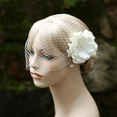 Birdcage Veil And Flower Hair Clip Set Bridal by JerseyBride