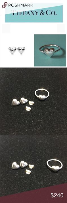 Puffy Heart Earrings and Puff Heart Ring Authentic Tiffany and Co Sterling Silver Puffy Heart Earrings and Puff Heart Ring. Earrings have original backs. Ring is size 7.5. EUC. One dust bag for both. Tiffany & Co. Jewelry