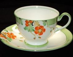 Aynsley Painted Artsy Deco LIME simplyTclub Tea cup and saucer