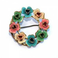 Gold, Pink Blue Peach and Green Enamel Floral Brooch