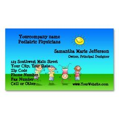 kids playing outdoors on a sunny day business card templates - Kids Business Cards