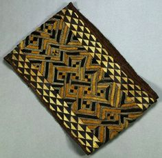 Africa | A raffia 'nchakabwin' from the Kuba people of DR Congo | Raffia; velvet cut pile punctuated by continuous geometric embroidery || Provenance; Property from the estate of Kuba King Bope Mabintshi Waa Mbeek