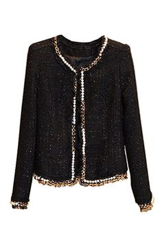 Fitted black, metallic flecked boucle jacket with faux pearl, gold tone chain and sheer black lace ruffle trim Outfits Otoño, Unique Outfits, Cute Fashion, Womens Fashion, Boucle Jacket, Indian Designer Outfits, Hijab Outfit, Chanel, Women's Fashion Dresses