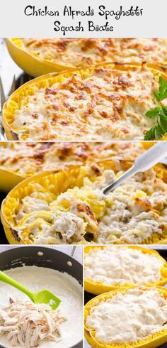 Spaghetti Squash Boats Recipe with chicken and creamy Greek yogurt Alfredo sauce. Healthy comfort food that is low carb and keto. alfredo sauce greek yogurt Chicken Alfredo Spaghetti Squash Boats - Recipes For Kids Spaghetti Squash Chicken Alfredo, Spaghetti Squash Boat, Chicken Squash, Squash Boats, Keto Alfredo Sauce, Greek Yogurt Chicken, Minced Chicken Recipes, Healthy Comfort Food, Butter Chicken