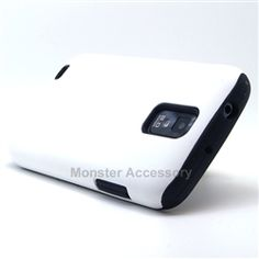 Click Image to Browse: $9.95 V2 White Double Layer Hard Case Gel Cover For Samsung Galaxy S2 (Hercules T989) T-Mobile