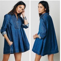 Free people  denim tunic top Free people  denim tunic top. Brand new with tag. Size XS. Has 2 side pockets. Free People Tops Tunics