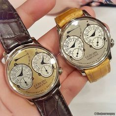 """Two early brass movements with nearly 2 years of a production age difference. The early yellow dial on the left with a shiny yellow dial and silvery subdials and a more matte white gold dial with flat off-white subdials.  Keeping aside the whole early and rarity gimmicks that often lead collectors to desire something they only think they like cause of """"hypes"""". Which one do you prefer? For me, I always liked the matte cause well...it actually looked like the ones on the catalogs  Still, ..."""