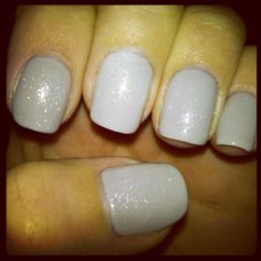 Grey nails with sparkles