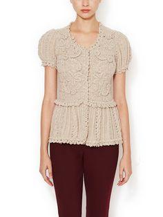 1e33fb6b1111 Wool Silk Crochet Cardigan by Oscar de la Renta at Gilt